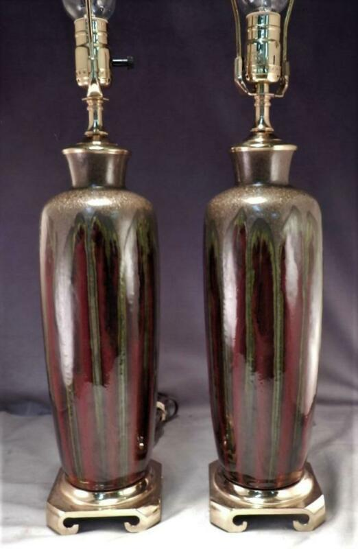 Pair of Mid Century Modern MCM Drip-Glaze Ceramic Table Lamps~Brass Base~VGC