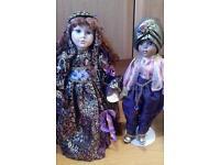 """Gorgeous gypsy porcelain dolls set. Leonardo collection. 17"""" tall"""