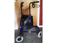 DAYS 3 WHEELED BLUE MOBILITY WALKING AID WITH SHOPING BAG