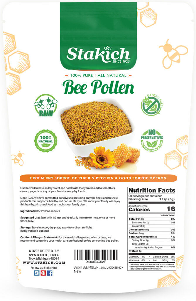1 lb BEE POLLEN GRANULES Fresh Pure 100% Natural Raw Flower Gluten Fat GMO Free 1