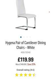 Brand new in box Pair of white cantilever chairs