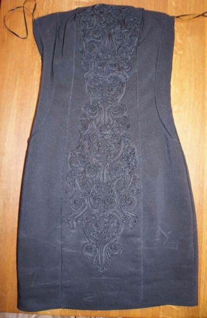 3e78e5a07dff Strapless Black H&M Dress Ladies' UK Size 6 Embroidered Floral Party ...