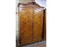 19th Century French Pitch Pine 2 Door Wardrobe - (00290)