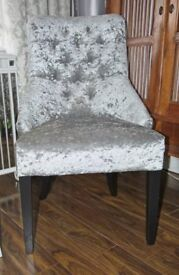 Occasional cocktail chair, Silver crushed Velvet,