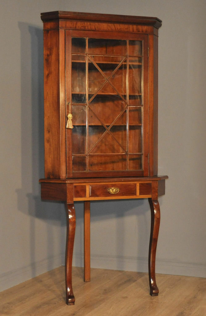 Attractive Tall Antique Edwardian Mahogany Corner Display Cabinet On Stand