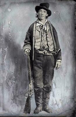 Print of BILLY THE KID-Famous Picture-Billy Holds His Rifle-On 100 lb paper