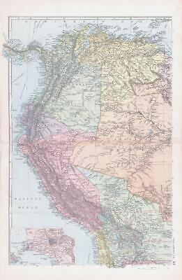 1893 Large Antique Map SOUTH AMERICA N.W North West Lima Brazil Colombia (BPA44)
