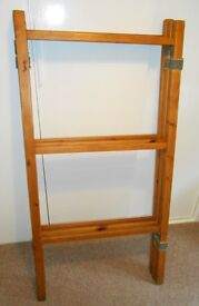 Large vintage traditional three panel folding wooden clothes horse with 57 x 29 ins panels.