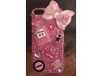 Handmade pink crystal makeup themed iPhone 5c case