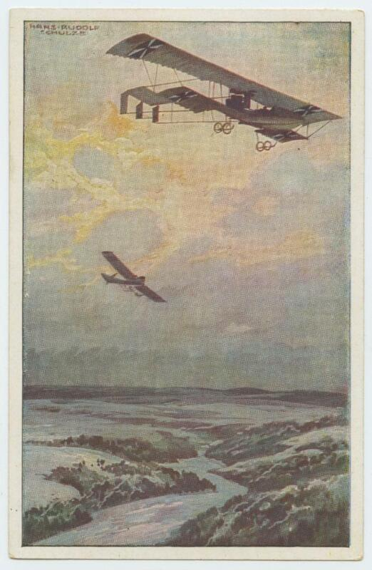 WWI German Color Postcard Biplane and Single Wing Airplane Hanz Rudolf Schulze