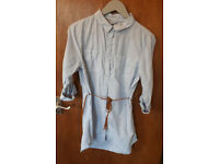 Long blouse with belt white and blue stripes size 12 only worn 1x