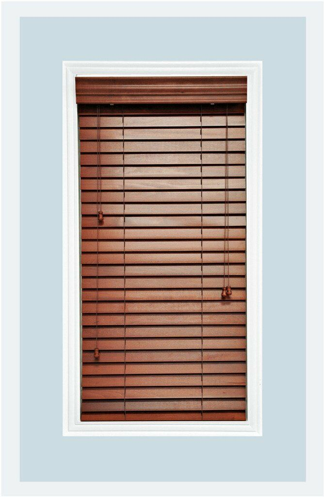 "Custom-Made Rosewood colored, 2"" Real Wood Horizontal Window Blind Inside Mount"