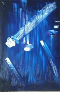 "CRYSTAL COMETS Original Abstract Painting Art 20x30"" unframed/framed your choice Midnight Blue Purple White Atomic Age"