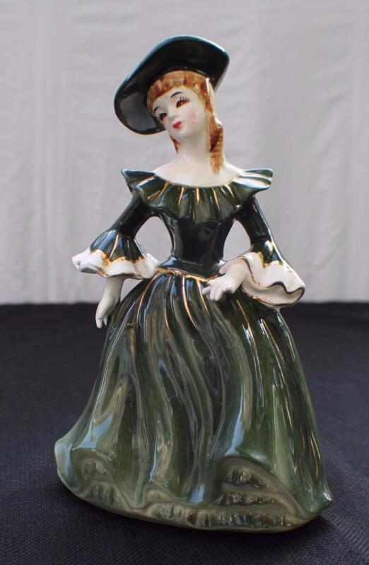 """Vintage NAPCO Japan Porcelain LADY ANN Green Dress 8 1/2""""h Planter A1875A"""
