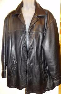 MENS L Large LEATHER JACKET Black 44 46 Long Sleeves and Back
