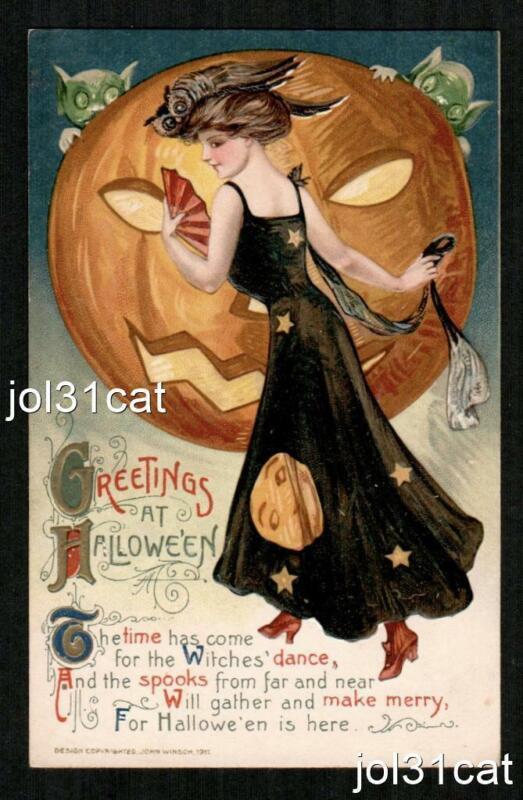 HALLOWEEN 1911 WINSCH PRETTY LADY IN BLACK DRESS, JOL, OWL, EMBOSSED STUNNING!