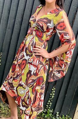 Charas  UK 8 Brown swirl  kaftan Tunic Holiday Dress Beach ABBA V neck sequins