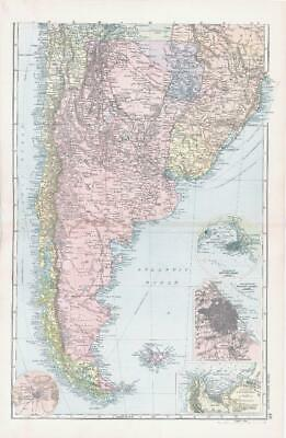1893 Large Antique Map SOUTH AMERICA Environs Buenos Aires Montevideo (BPA46)