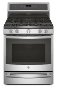 GE Profile PCGB940SEJSS Gas Range, 30 inch, Self Clean, Convection, 5 Sealed Burners  Warming Drawer