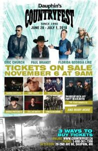 Countryfest weekend pass for sale