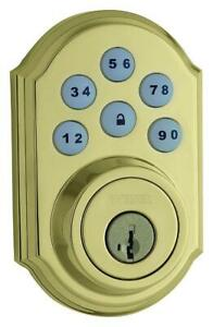 Weiser SmartCode 5 Electronic Deadbolt Featuring SmartKey,Keypad Door Lock,Polished Brass at discounted price #2667code5