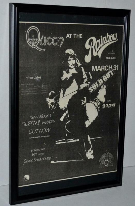 QUEEN 1974 AT THE RAINBOW W / TOUR DATES FRAMED PROMOTIONAL CONCERT POSTER / AD