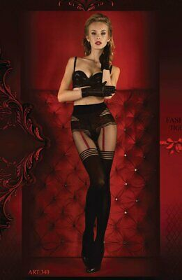 (Super Sexy Black & Red Striped Tights - Studio Collants Hosiery  340)