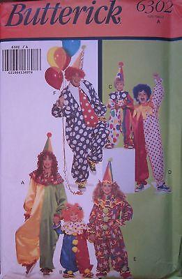 ck Nähmuster Kinder Erwachsene Clown Halloween Kostüm Uncut (Vintage Halloween Kostüme Kinder)