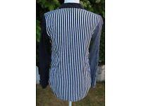 TOPSHOP black and white stripes, gingham and polka dots viscose shirt UK10