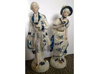 VINTAGE GERMAN IVO BLUE & WHITE FIGURES