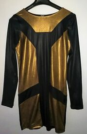 Ladies Silky short dress, size 12, Long sleved, black and gold by ASOS