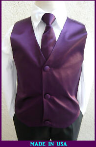 NEW-PLUM-VEST-WITH-BOW-TIE-LONG-TIE-2-PC-SET-TO-MATCH-BOY-SUIT-SZ-2-TO-16