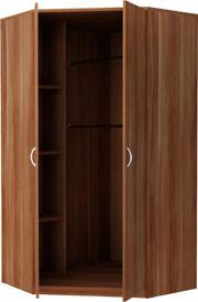 New Castle 2 Door Corner Wardrobe - Walnut
