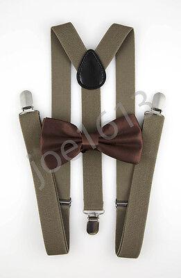Dark Tan Combo - Milk Chocolate Bow Tie Dark Tan Suspender Mens Adult Combo Set Wedding SBT13