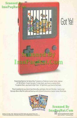 Original ☆ Pokémon Red Gameboy ☆ Gotta catch 'em all! ☆ 1998 ☆ Print Ad! Pokemon