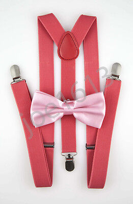 Salmon Bow Tie Watermelon Red Suspender Mens Adult Combo Set Wedding SBT29 (Watermelon Bow Tie)