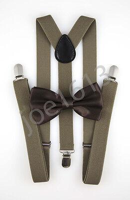 Dark Tan Combo - Dark Chocolate Bow Tie Dark Tan Suspender Mens Adult Combo Set Wedding SBT14