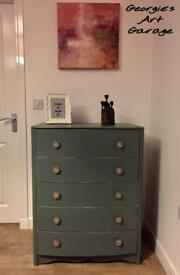 Unique solid fully upcycled chest of drawers in Victorian tapestry colour