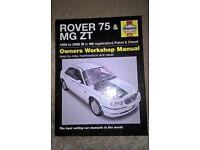 Haynes Owner Manual- Rover 75 & MG ZT Excellent used condition
