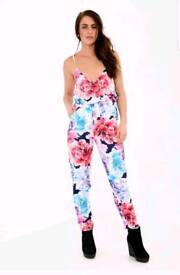 Womens Jumpsuit Floral Print Cami Wrap Over