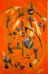 "24 x 36"" ORIGINAL PAINTING ""JOHANNESBURG"" Abstract Art  Valerie Koudelka ORANGE 905 510-8720 See others Oakville"
