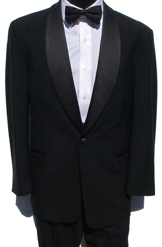 41R Mens Classic Black 1 Button Shawl Tuxedo Package Prom Wedding Formal Evening