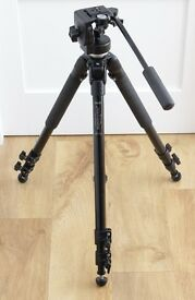 Manfrotto 144BIRD tripod with 128RC fluid video head, REFURBISHED