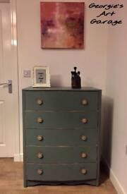 Beautifully refurbished vintage look chest of drawers in Victorian tapestry colour