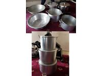 lot heavy duty large stainless steel pots & pans inc pressure cooker