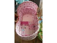 Beautiful baby girl moses basket and stand