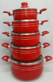 NEW RED 5PC CERAMIC NON STICK PAN SET