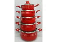 NEW RED 5PC CERAMIC NON STICK PAN SET
