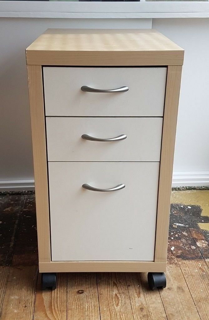 ikea birch white mikael office drawer unit filing cabinet on castors with instructions. Black Bedroom Furniture Sets. Home Design Ideas