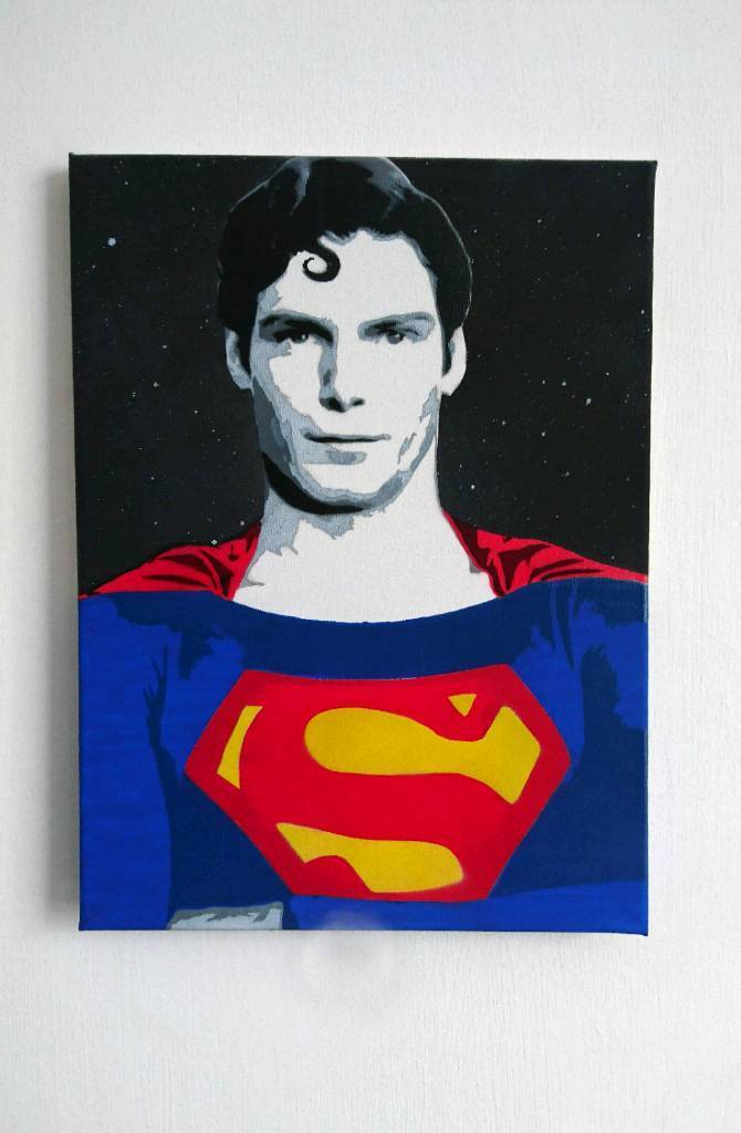 Superman Christopher Reeve painted canvas